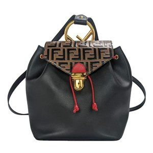 Fendi Zucca Black, Brown, Red Leather Backpack
